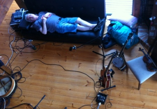 Big days of recording at Rye. Flat out. Wake up for a take. Frosty on the banjo.